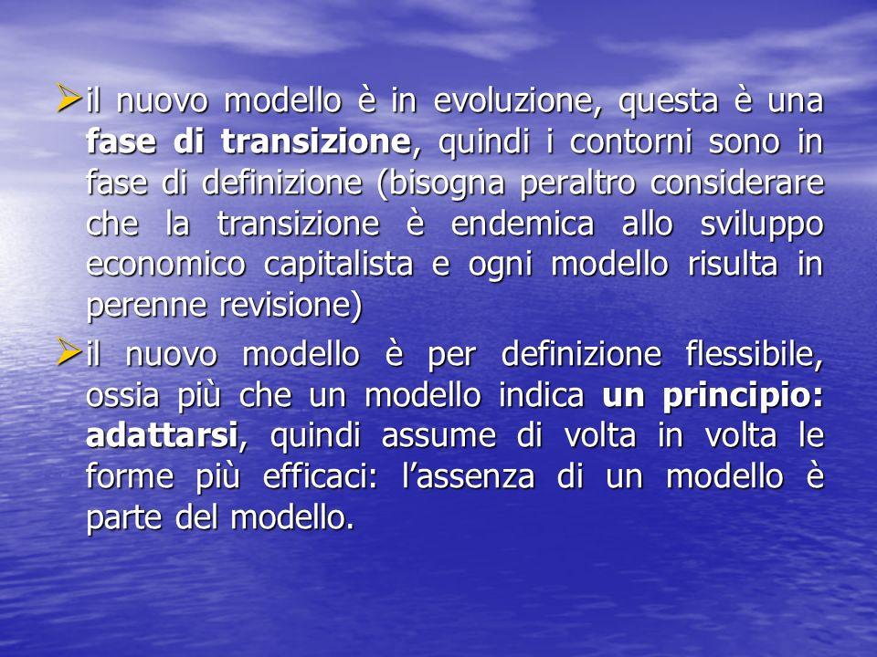 il nuovo modello è in evoluzione, questa è una fase di transizione, quindi i contorni sono in fase di definizione (bisogna peraltro considerare che la transizione è endemica allo sviluppo economico capitalista e ogni modello risulta in perenne revisione) il nuovo modello è in evoluzione, questa è una fase di transizione, quindi i contorni sono in fase di definizione (bisogna peraltro considerare che la transizione è endemica allo sviluppo economico capitalista e ogni modello risulta in perenne revisione) il nuovo modello è per definizione flessibile, ossia più che un modello indica un principio: adattarsi, quindi assume di volta in volta le forme più efficaci: lassenza di un modello è parte del modello.