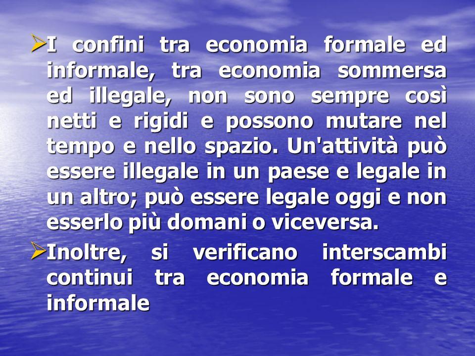 I confini tra economia formale ed informale, tra economia sommersa ed illegale, non sono sempre così netti e rigidi e possono mutare nel tempo e nello spazio.