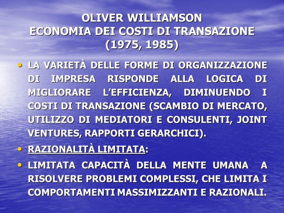 OLIVER WILLIAMSON ECONOMIA DEI COSTI DI TRANSAZIONE (1975, 1985) LA VARIETÀ DELLE FORME DI ORGANIZZAZIONE DI IMPRESA RISPONDE ALLA LOGICA DI MIGLIORARE LEFFICIENZA, DIMINUENDO I COSTI DI TRANSAZIONE (SCAMBIO DI MERCATO, UTILIZZO DI MEDIATORI E CONSULENTI, JOINT VENTURES, RAPPORTI GERARCHICI).