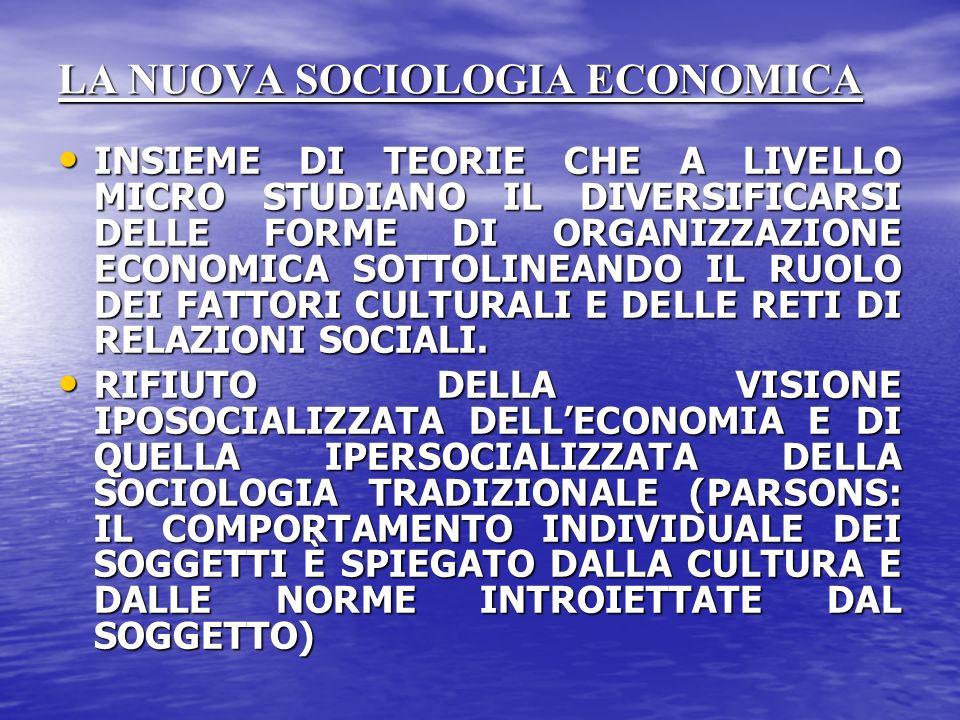 LA NUOVA SOCIOLOGIA ECONOMICA INSIEME DI TEORIE CHE A LIVELLO MICRO STUDIANO IL DIVERSIFICARSI DELLE FORME DI ORGANIZZAZIONE ECONOMICA SOTTOLINEANDO IL RUOLO DEI FATTORI CULTURALI E DELLE RETI DI RELAZIONI SOCIALI.