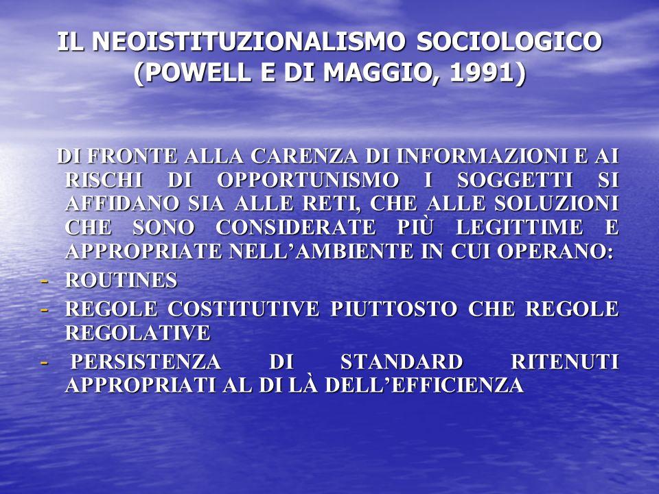 IL NEOISTITUZIONALISMO SOCIOLOGICO (POWELL E DI MAGGIO, 1991) DI FRONTE ALLA CARENZA DI INFORMAZIONI E AI RISCHI DI OPPORTUNISMO I SOGGETTI SI AFFIDANO SIA ALLE RETI, CHE ALLE SOLUZIONI CHE SONO CONSIDERATE PIÙ LEGITTIME E APPROPRIATE NELLAMBIENTE IN CUI OPERANO: DI FRONTE ALLA CARENZA DI INFORMAZIONI E AI RISCHI DI OPPORTUNISMO I SOGGETTI SI AFFIDANO SIA ALLE RETI, CHE ALLE SOLUZIONI CHE SONO CONSIDERATE PIÙ LEGITTIME E APPROPRIATE NELLAMBIENTE IN CUI OPERANO: - ROUTINES - REGOLE COSTITUTIVE PIUTTOSTO CHE REGOLE REGOLATIVE - PERSISTENZA DI STANDARD RITENUTI APPROPRIATI AL DI LÀ DELLEFFICIENZA