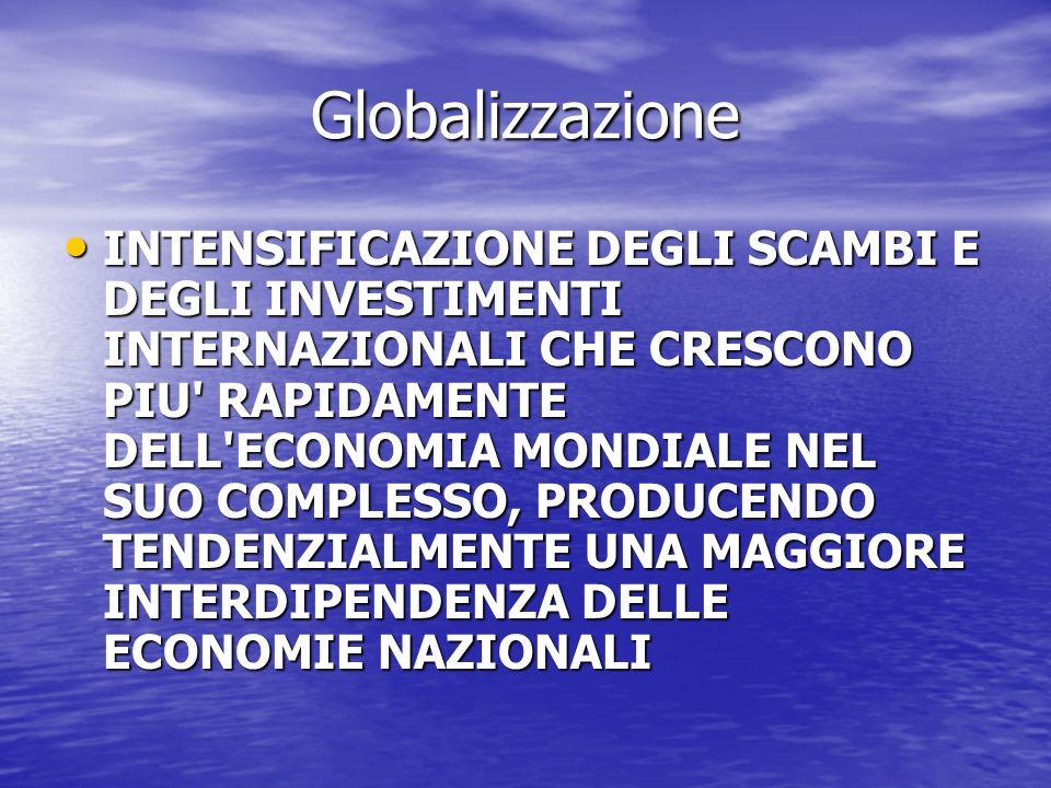 Globalizzazione INTENSIFICAZIONE DEGLI SCAMBI E DEGLI INVESTIMENTI INTERNAZIONALI CHE CRESCONO PIU RAPIDAMENTE DELL ECONOMIA MONDIALE NEL SUO COMPLESSO, PRODUCENDO TENDENZIALMENTE UNA MAGGIORE INTERDIPENDENZA DELLE ECONOMIE NAZIONALI INTENSIFICAZIONE DEGLI SCAMBI E DEGLI INVESTIMENTI INTERNAZIONALI CHE CRESCONO PIU RAPIDAMENTE DELL ECONOMIA MONDIALE NEL SUO COMPLESSO, PRODUCENDO TENDENZIALMENTE UNA MAGGIORE INTERDIPENDENZA DELLE ECONOMIE NAZIONALI