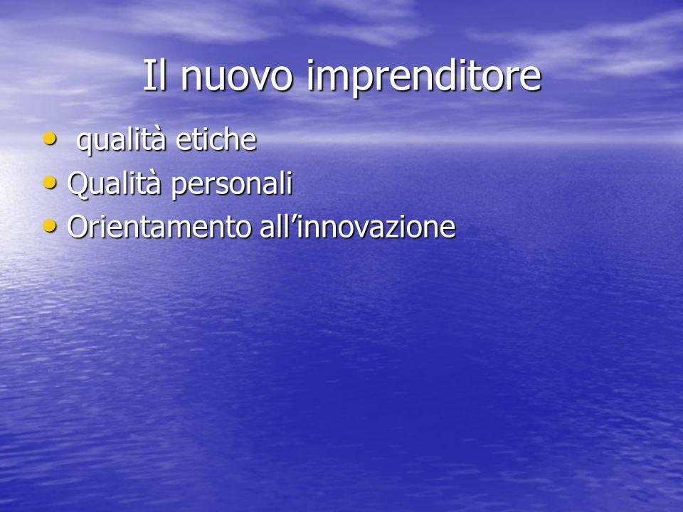 Il nuovo imprenditore qualità etiche qualità etiche Qualità personali Qualità personali Orientamento allinnovazione Orientamento allinnovazione