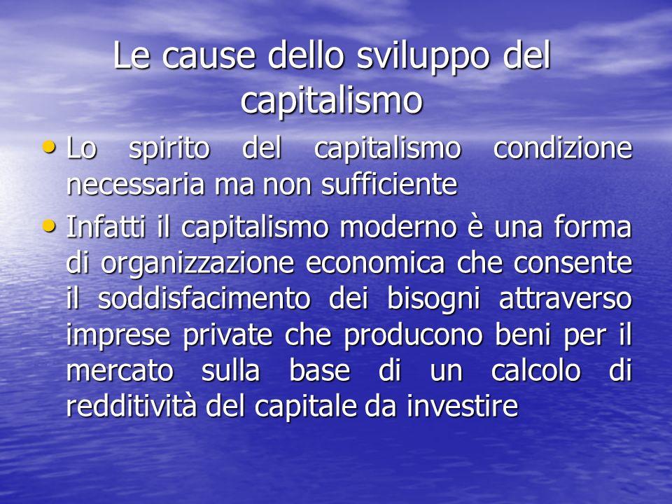 Le cause dello sviluppo del capitalismo Lo spirito del capitalismo condizione necessaria ma non sufficiente Lo spirito del capitalismo condizione necessaria ma non sufficiente Infatti il capitalismo moderno è una forma di organizzazione economica che consente il soddisfacimento dei bisogni attraverso imprese private che producono beni per il mercato sulla base di un calcolo di redditività del capitale da investire Infatti il capitalismo moderno è una forma di organizzazione economica che consente il soddisfacimento dei bisogni attraverso imprese private che producono beni per il mercato sulla base di un calcolo di redditività del capitale da investire