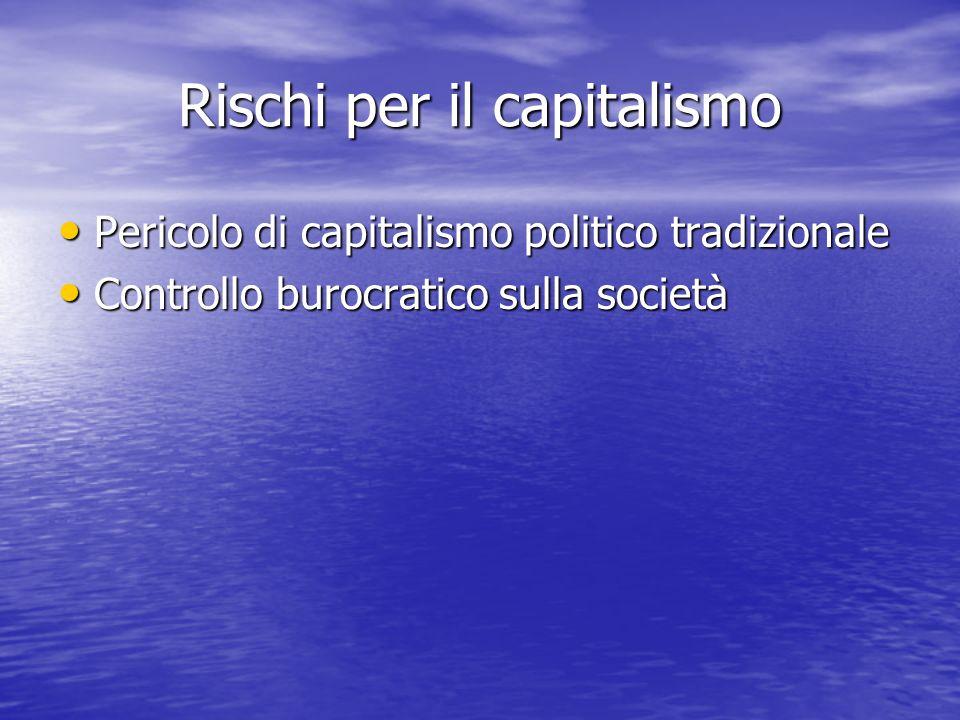 Rischi per il capitalismo Pericolo di capitalismo politico tradizionale Pericolo di capitalismo politico tradizionale Controllo burocratico sulla società Controllo burocratico sulla società