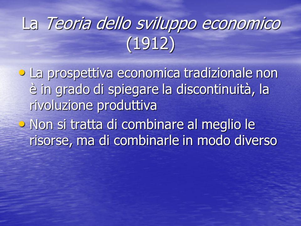 La Teoria dello sviluppo economico (1912) La prospettiva economica tradizionale non è in grado di spiegare la discontinuità, la rivoluzione produttiva La prospettiva economica tradizionale non è in grado di spiegare la discontinuità, la rivoluzione produttiva Non si tratta di combinare al meglio le risorse, ma di combinarle in modo diverso Non si tratta di combinare al meglio le risorse, ma di combinarle in modo diverso