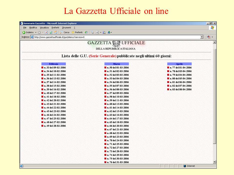 La Gazzetta Ufficiale on line