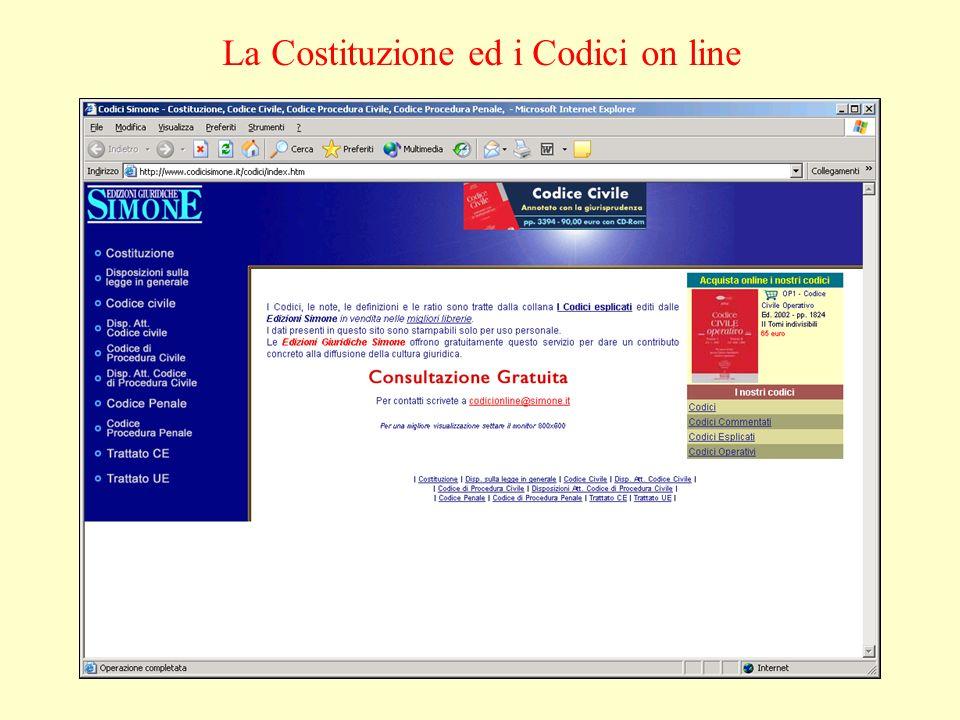La Costituzione ed i Codici on line