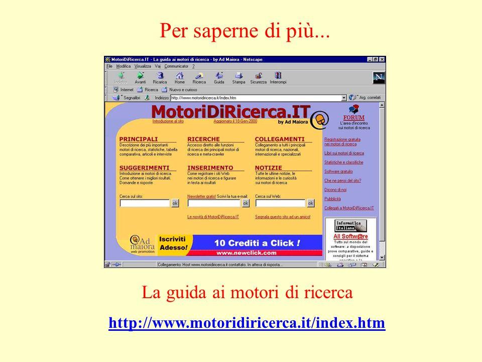La guida ai motori di ricerca http://www.motoridiricerca.it/index.htm Per saperne di più...
