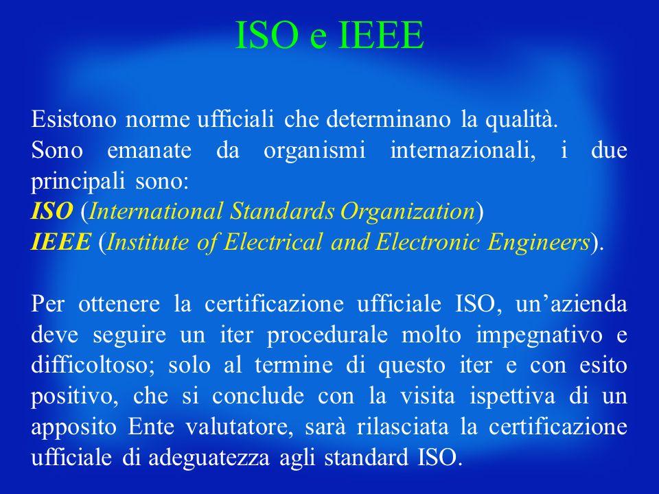 Esistono norme ufficiali che determinano la qualità. Sono emanate da organismi internazionali, i due principali sono: ISO (International Standards Org