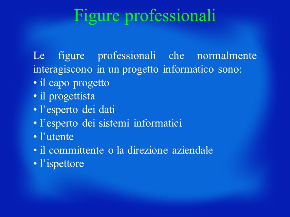 Le figure professionali che normalmente interagiscono in un progetto informatico sono: il capo progetto il progettista lesperto dei dati lesperto dei