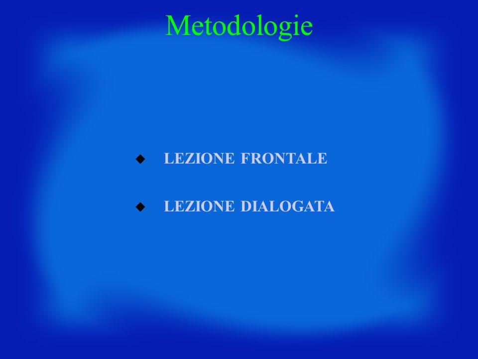 LEZIONE FRONTALE LEZIONE DIALOGATA Metodologie
