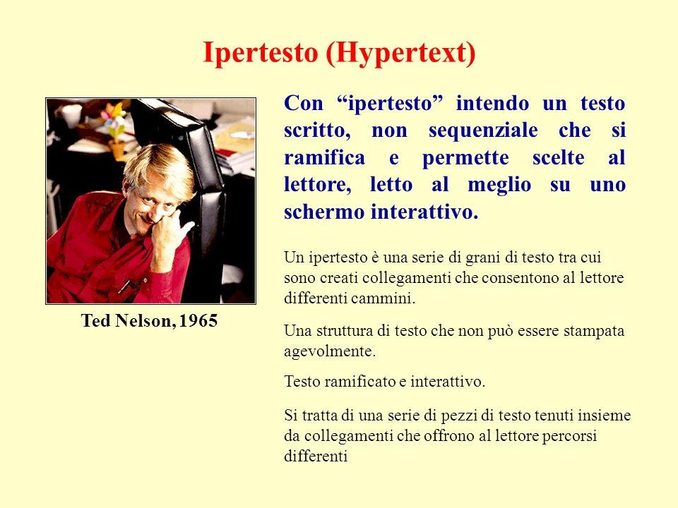 Ipertesto (Hypertext) Con ipertesto intendo un testo scritto, non sequenziale che si ramifica e permette scelte al lettore, letto al meglio su uno schermo interattivo.