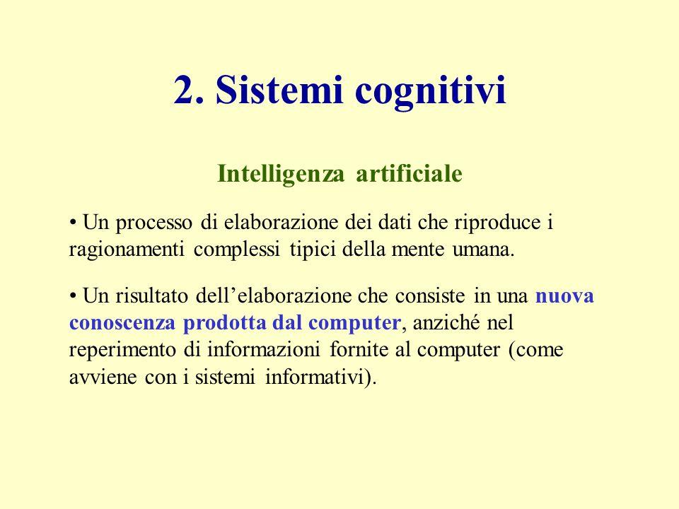 2. Sistemi cognitivi Un processo di elaborazione dei dati che riproduce i ragionamenti complessi tipici della mente umana. Un risultato dellelaborazio
