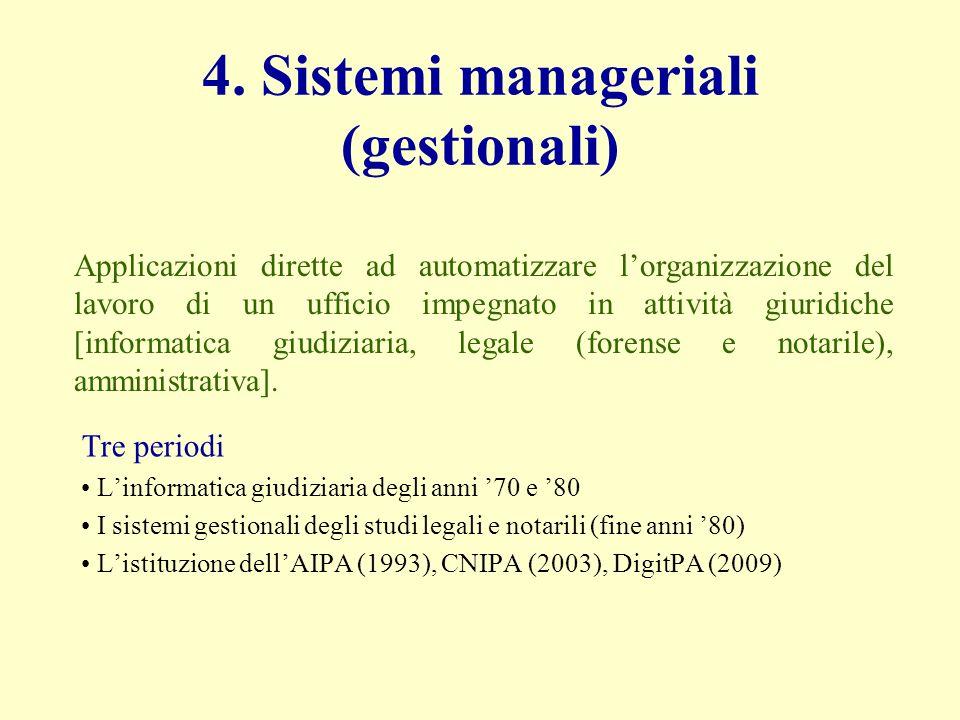 4. Sistemi manageriali (gestionali) Tre periodi Linformatica giudiziaria degli anni 70 e 80 I sistemi gestionali degli studi legali e notarili (fine a