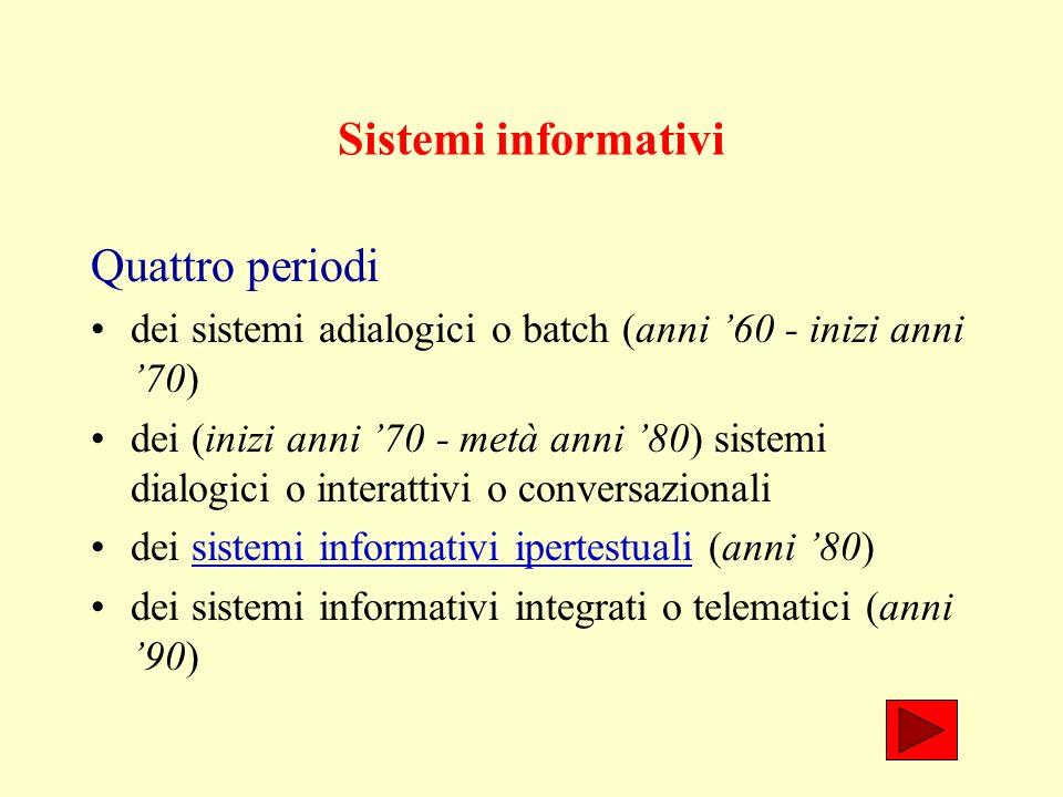 Sistemi informativi Quattro periodi dei sistemi adialogici o batch (anni 60 - inizi anni 70) dei (inizi anni 70 - metà anni 80) sistemi dialogici o interattivi o conversazionali dei sistemi informativi ipertestuali (anni 80)sistemi informativi ipertestuali dei sistemi informativi integrati o telematici (anni 90)