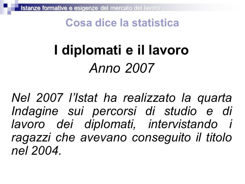 Cosa dice la statistica I diplomati e il lavoro Anno 2007 Nel 2007 lIstat ha realizzato la quarta Indagine sui percorsi di studio e di lavoro dei diplomati, intervistando i ragazzi che avevano conseguito il titolo nel 2004.