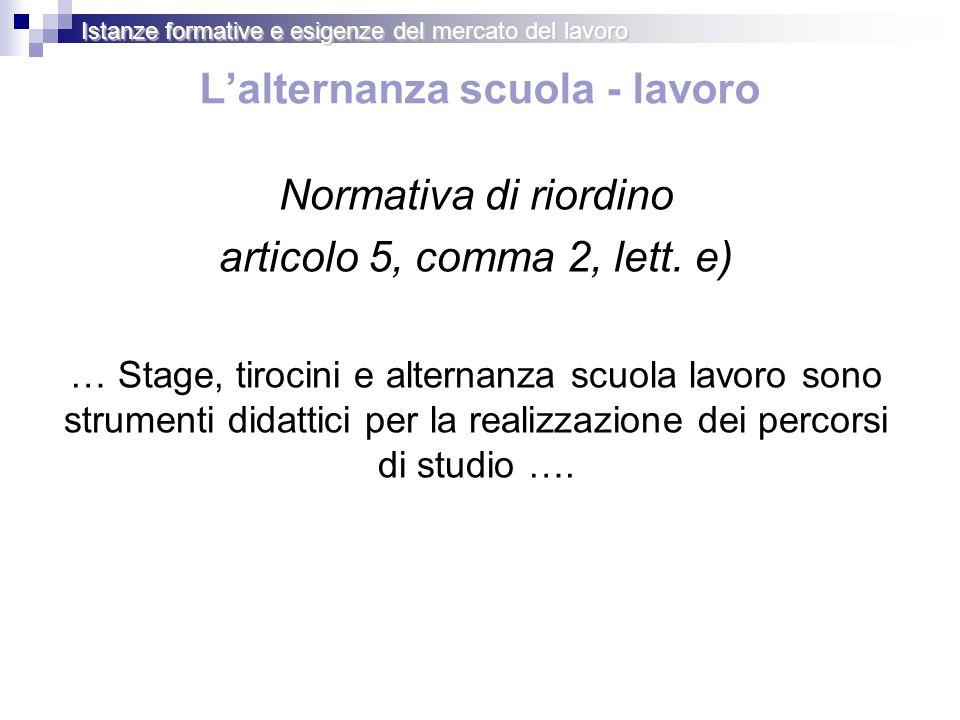 Lalternanza scuola - lavoro Normativa di riordino articolo 5, comma 2, lett.
