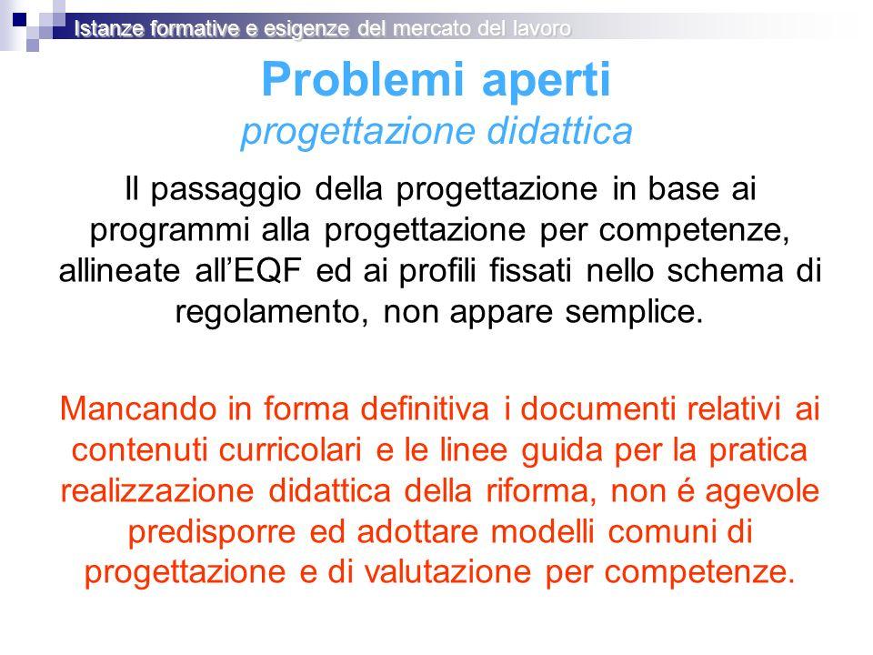 Problemi aperti progettazione didattica Il passaggio della progettazione in base ai programmi alla progettazione per competenze, allineate allEQF ed ai profili fissati nello schema di regolamento, non appare semplice.