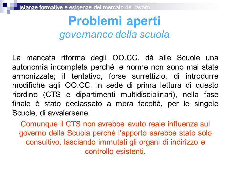 Problemi aperti governance della scuola La mancata riforma degli OO.CC. dà alle Scuole una autonomia incompleta perché le norme non sono mai state arm
