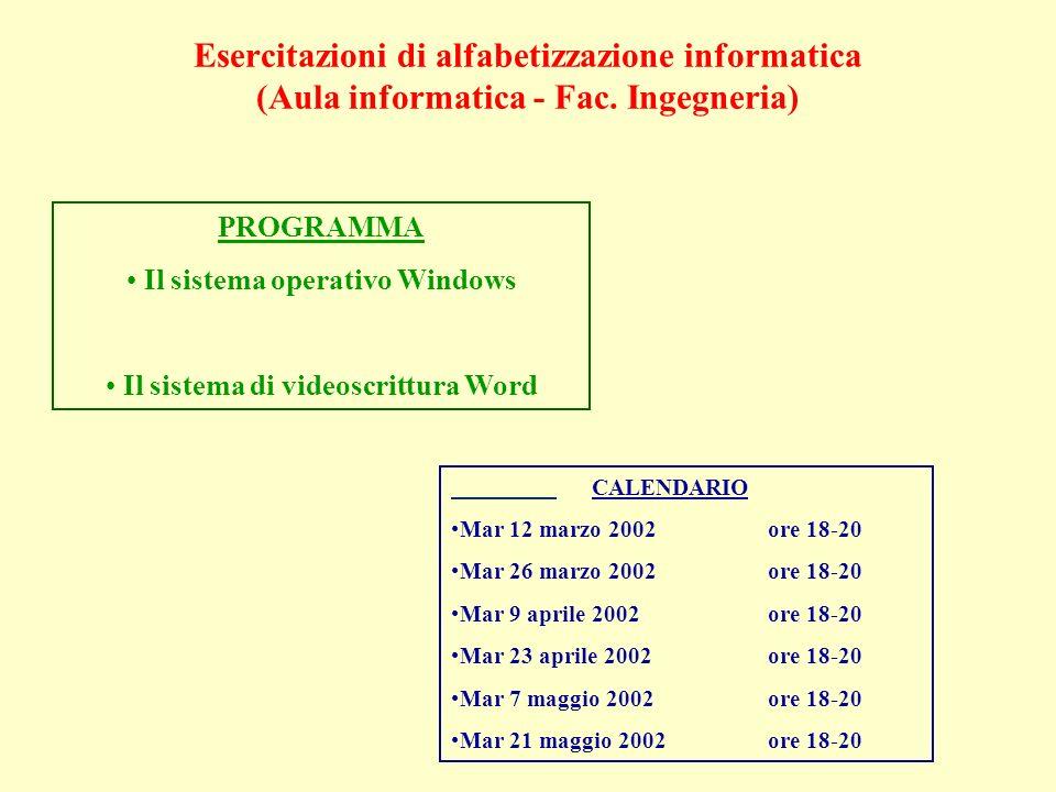 Esercitazioni di alfabetizzazione informatica (Aula informatica - Fac.