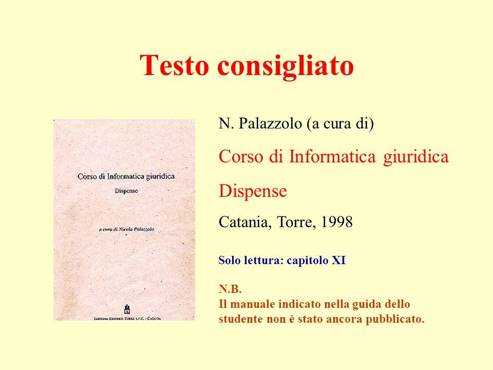 N. Palazzolo (a cura di) Corso di Informatica giuridica Dispense Catania, Torre, 1998 Testo consigliato Solo lettura: capitolo XI N.B. Il manuale indi