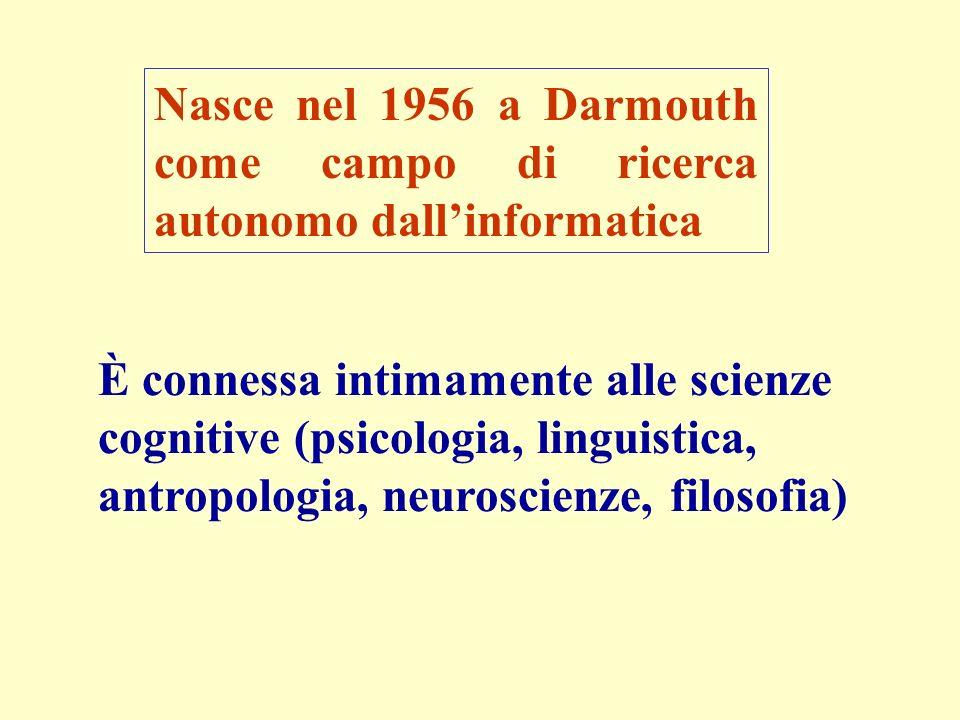 Nasce nel 1956 a Darmouth come campo di ricerca autonomo dallinformatica È connessa intimamente alle scienze cognitive (psicologia, linguistica, antropologia, neuroscienze, filosofia)