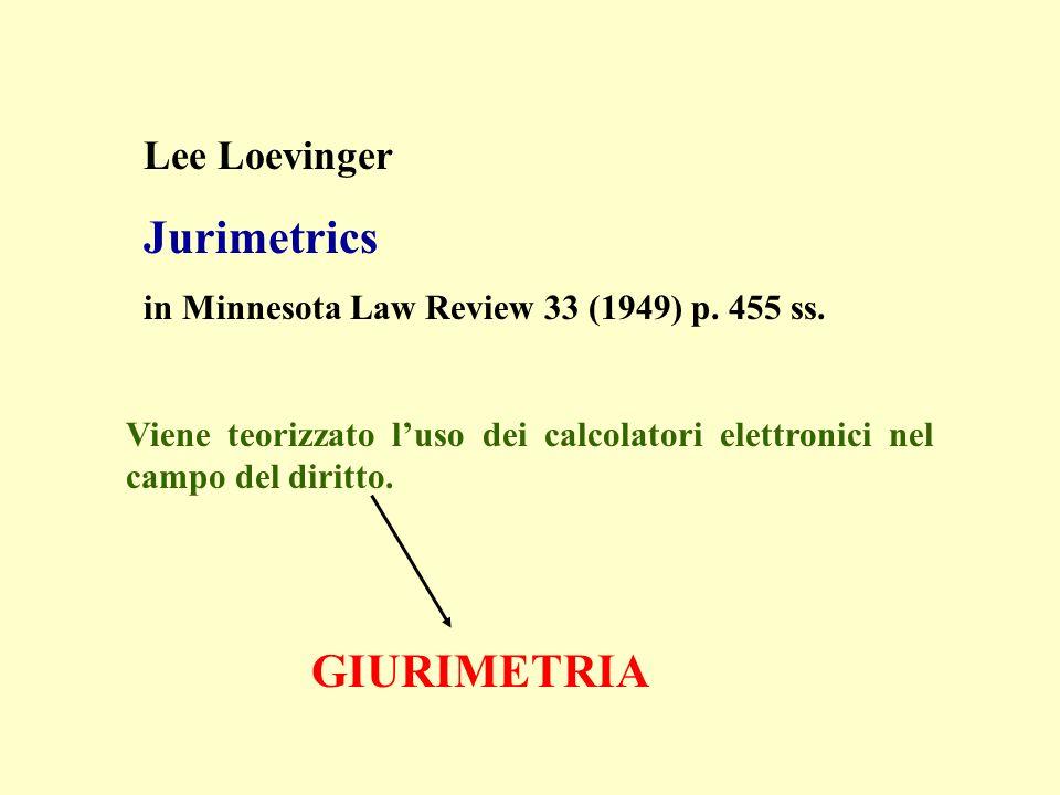 Lee Loevinger Jurimetrics in Minnesota Law Review 33 (1949) p. 455 ss. Viene teorizzato luso dei calcolatori elettronici nel campo del diritto. GIURIM