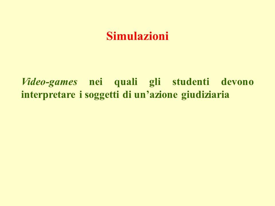 Simulazioni Video-games nei quali gli studenti devono interpretare i soggetti di unazione giudiziaria
