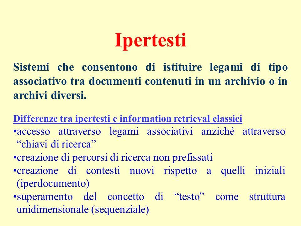 Ipertesti Sistemi che consentono di istituire legami di tipo associativo tra documenti contenuti in un archivio o in archivi diversi.