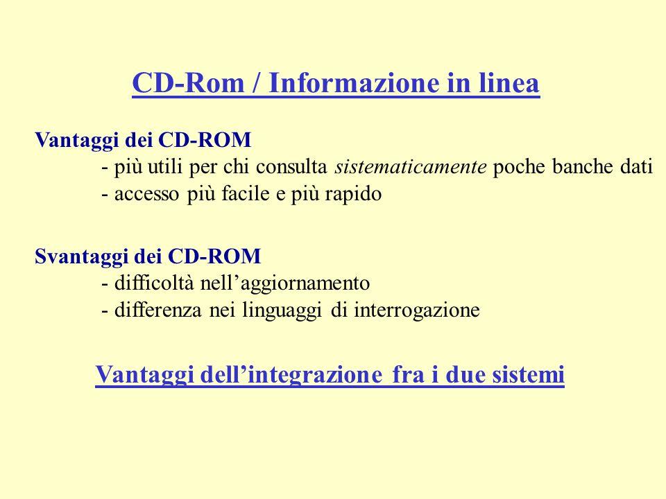 Vantaggi dei CD-ROM - più utili per chi consulta sistematicamente poche banche dati - accesso più facile e più rapido Svantaggi dei CD-ROM - difficoltà nellaggiornamento - differenza nei linguaggi di interrogazione CD-Rom / Informazione in linea Vantaggi dellintegrazione fra i due sistemi