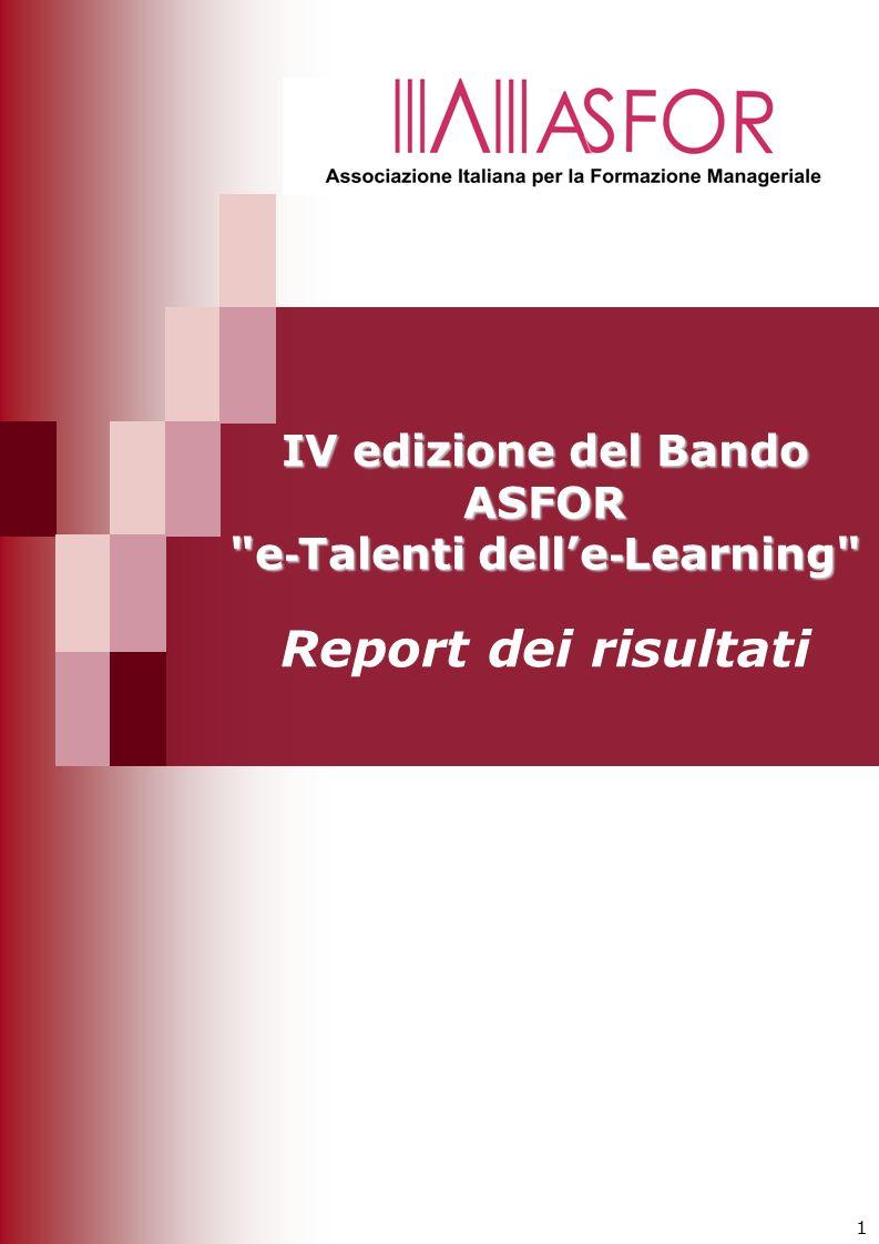 1 IV edizione del Bando ASFOR