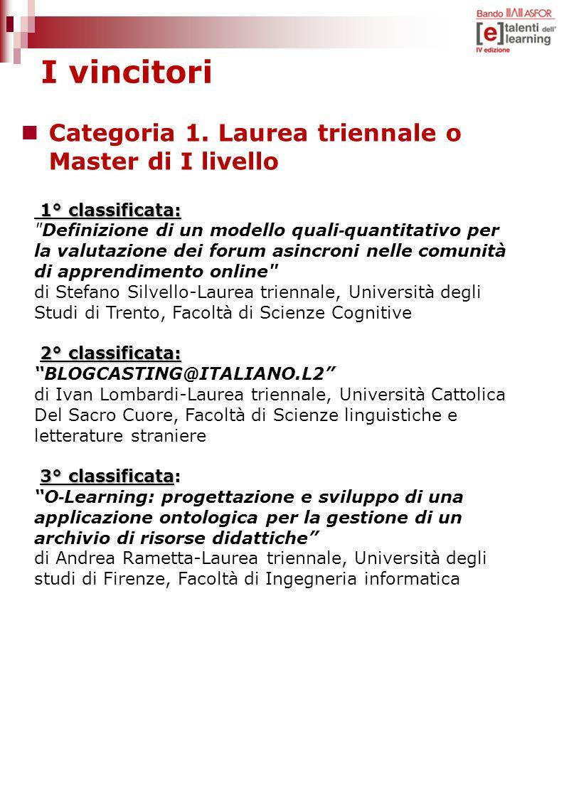 I vincitori Categoria 1. Laurea triennale o Master di I livello 1° classificata: 1° classificata: