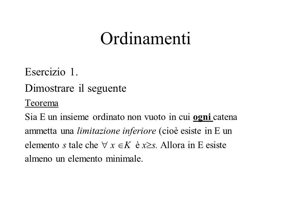 Ordinamenti Esercizio 1. Dimostrare il seguente Teorema Sia E un insieme ordinato non vuoto in cui ogni catena ammetta una limitazione inferiore (cioè