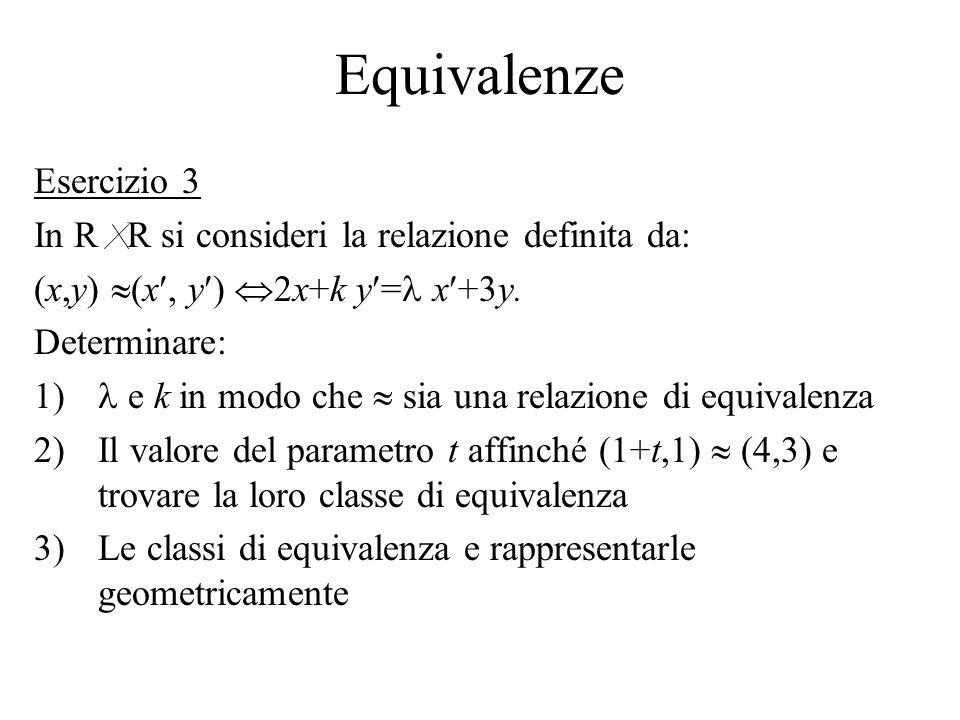 Equivalenze Esercizio 3 In R R si consideri la relazione definita da: (x,y) (x, y ) 2x+k y = x +3y. Determinare: 1) e k in modo che sia una relazione
