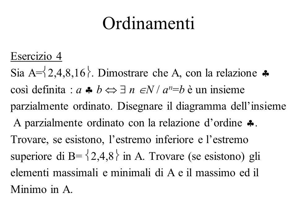 Ordinamenti Esercizio 4 Sia A= 2,4,8,16. Dimostrare che A, con la relazione così definita : a b n N / a n =b è un insieme parzialmente ordinato. Diseg