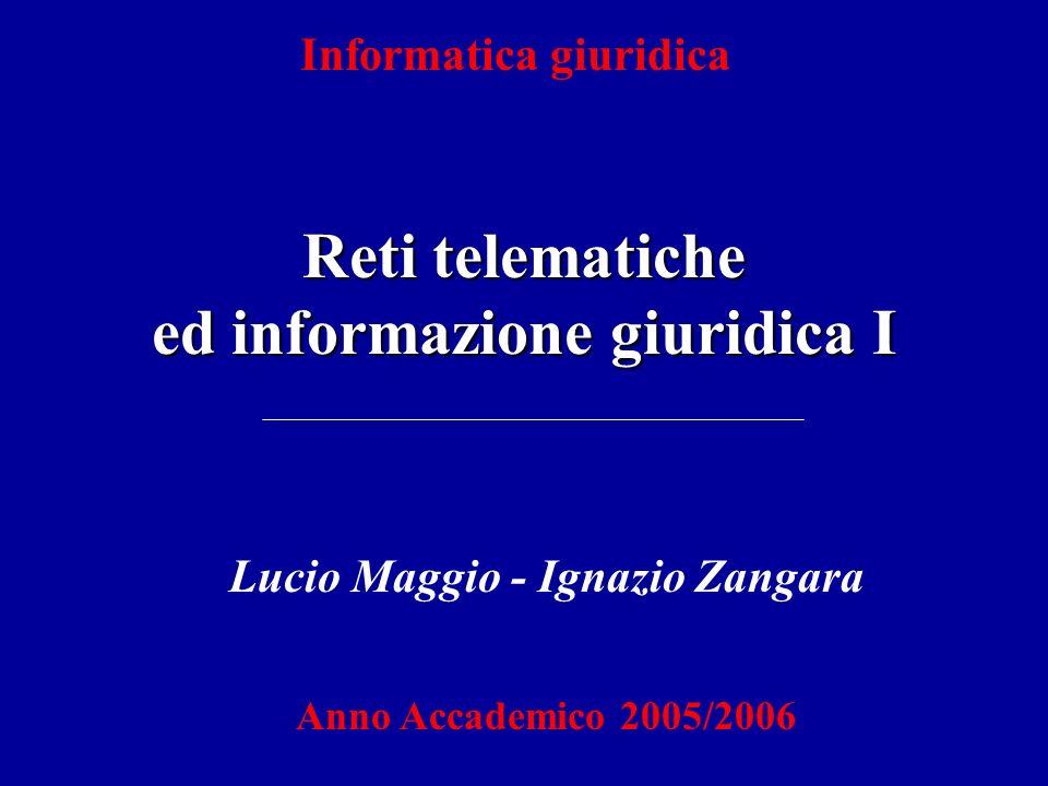Reti telematiche ed informazione giuridica I Informatica giuridica Lucio Maggio - Ignazio Zangara Anno Accademico 2005/2006
