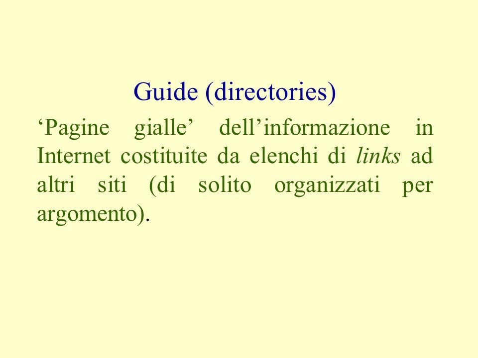 Guide (directories) Pagine gialle dellinformazione in Internet costituite da elenchi di links ad altri siti (di solito organizzati per argomento).