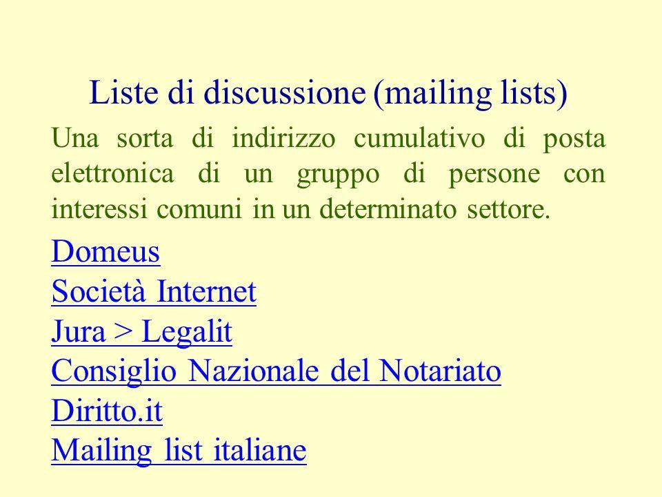 Liste di discussione (mailing lists) Una sorta di indirizzo cumulativo di posta elettronica di un gruppo di persone con interessi comuni in un determi