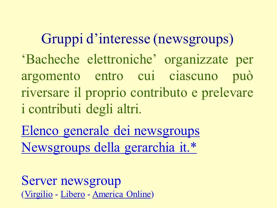 Gruppi dinteresse (newsgroups) Bacheche elettroniche organizzate per argomento entro cui ciascuno può riversare il proprio contributo e prelevare i co