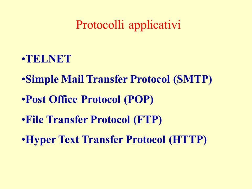 Protocolli applicativi TELNET Simple Mail Transfer Protocol (SMTP) Post Office Protocol (POP) File Transfer Protocol (FTP) Hyper Text Transfer Protocol (HTTP)