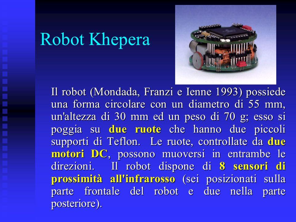 Robot Khepera 2 Il microprocessore motorola 68331 con 256 Kbytes di RAM e di 512 Kbytes di ROM elabora tutte le routine input-output e può comunicare con un computer attraverso uno speciale cavo con contatti rotanti.