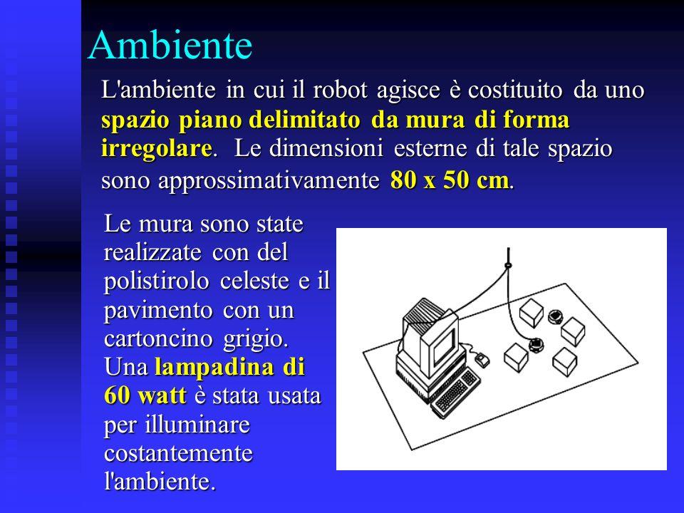 Ambiente L'ambiente in cui il robot agisce è costituito da uno spazio piano delimitato da mura di forma irregolare. Le dimensioni esterne di tale spaz