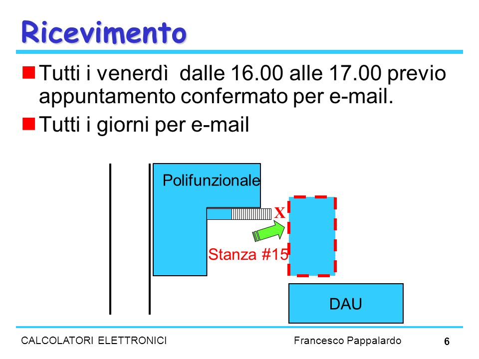 CALCOLATORI ELETTRONICI Francesco Pappalardo 6 Ricevimento Tutti i venerdì dalle 16.00 alle 17.00 previo appuntamento confermato per e-mail. Tutti i g