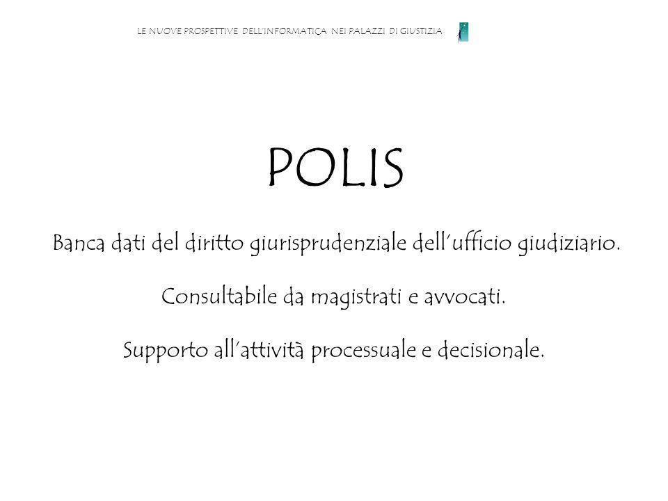 POLIS Banca dati del diritto giurisprudenziale dellufficio giudiziario.