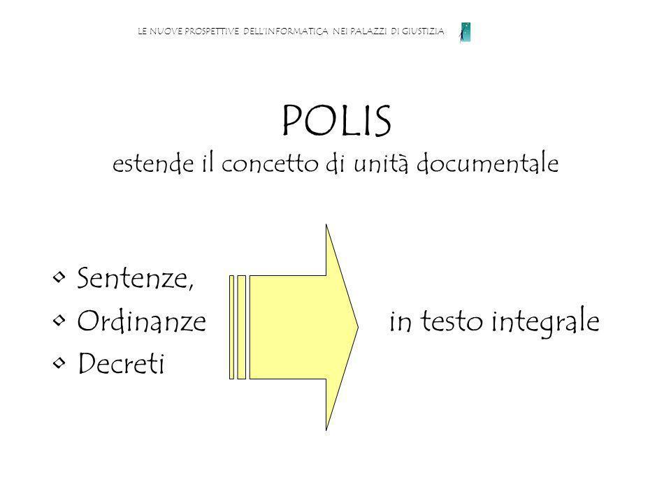 POLIS estende il concetto di unità documentale Sentenze, Ordinanze in testo integrale Decreti LE NUOVE PROSPETTIVE DELLINFORMATICA NEI PALAZZI DI GIUSTIZIA