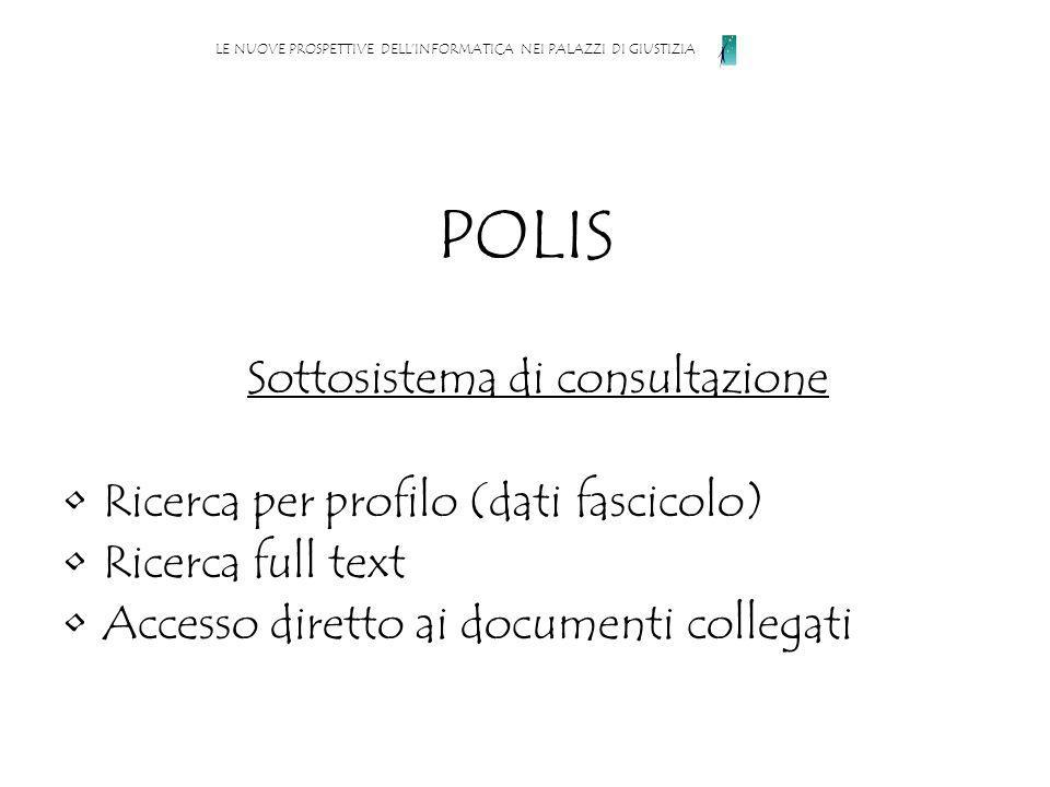 POLIS Sottosistema di consultazione Ricerca per profilo (dati fascicolo) Ricerca full text Accesso diretto ai documenti collegati LE NUOVE PROSPETTIVE DELLINFORMATICA NEI PALAZZI DI GIUSTIZIA