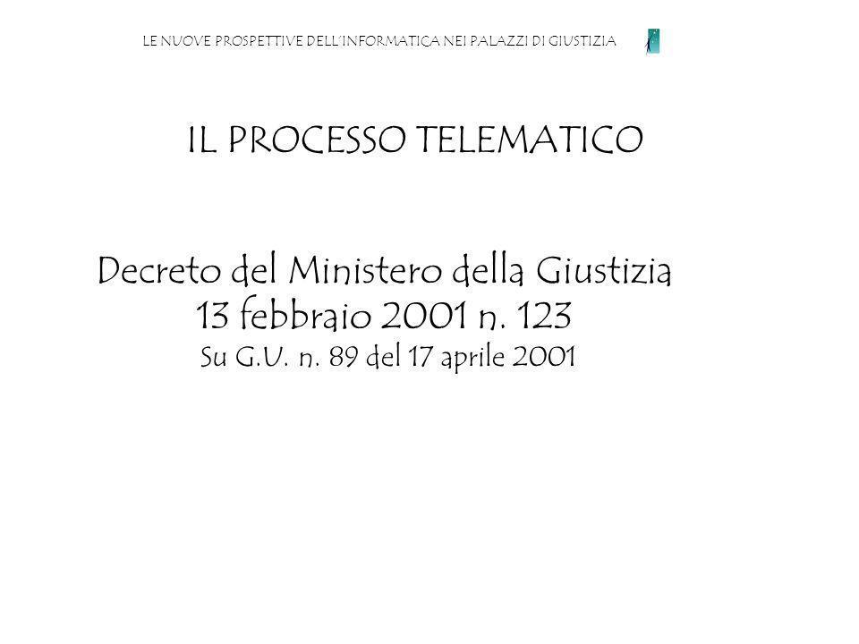 IL PROCESSO TELEMATICO LE NUOVE PROSPETTIVE DELLINFORMATICA NEI PALAZZI DI GIUSTIZIA Decreto del Ministero della Giustizia 13 febbraio 2001 n.