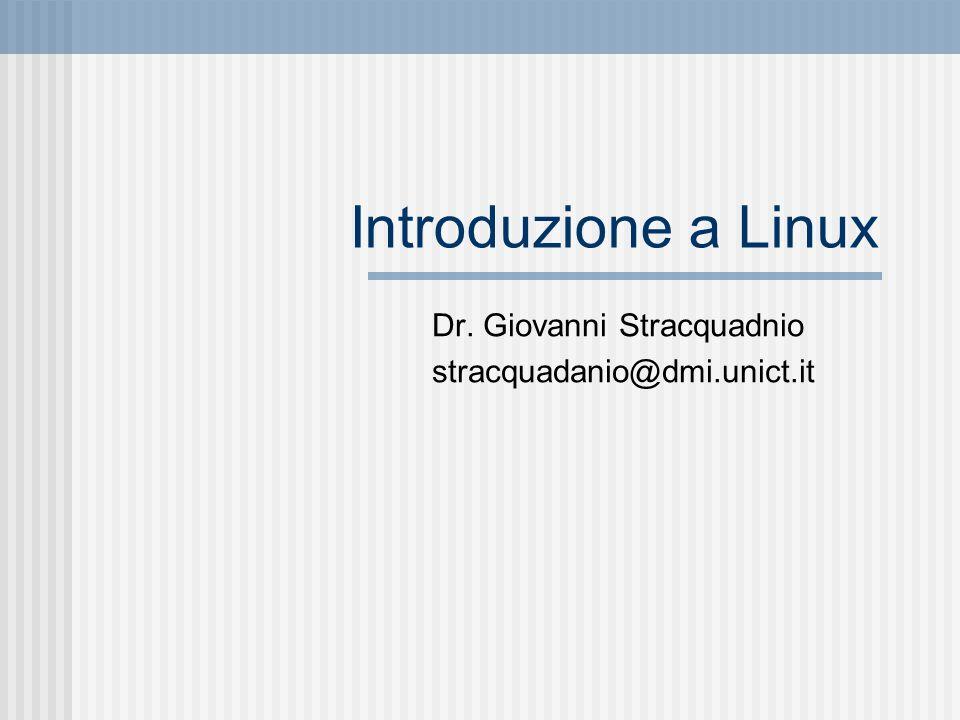 Introduzione a Linux Dr. Giovanni Stracquadnio stracquadanio@dmi.unict.it
