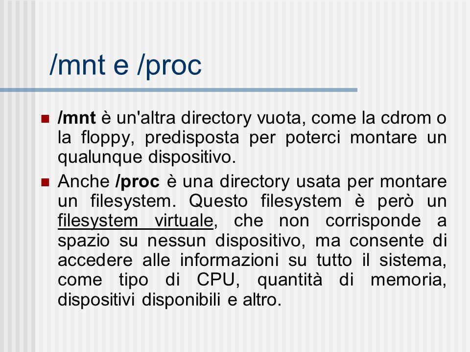 /mnt e /proc /mnt è un'altra directory vuota, come la cdrom o la floppy, predisposta per poterci montare un qualunque dispositivo. Anche /proc è una d